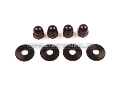 Dopmoer set, m10 x 1,25 + ringen, aluminium zwart