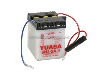 Accu 6 volt 4 ampere, C50, CB50, zuur accu, Yuasa