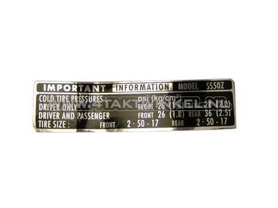 Sticker SS50 kettingrandje banden informatie