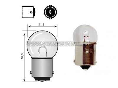 Lamp BA15-S, enkel,  6 volt, 15 watt klein bolletje
