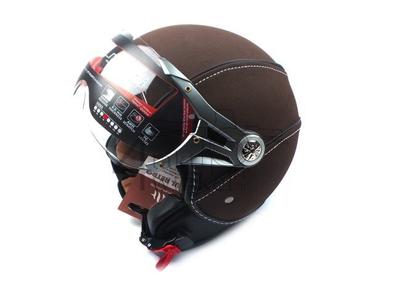 Helm MT, Le Mans Soul Retro leder bruin, Maten XS t/m XXL