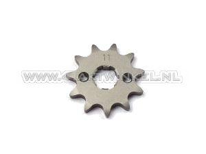 Voortandwiel, 420 ketting, 17mm as, 11, SS50, C50, Dax, m6 gaten