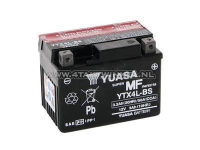Accu 12 volt 3,2 ampere zuur, YTX 4L-BS, Yuasa