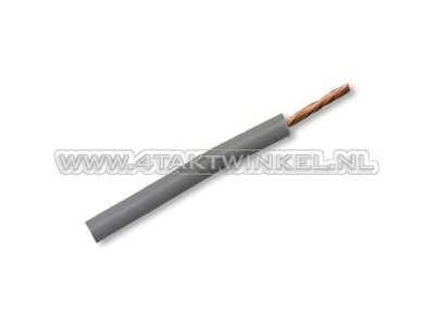 Draad per meter 0,75mm2, grijs