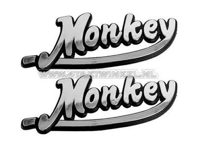 Embleem Monkey, set, zilver