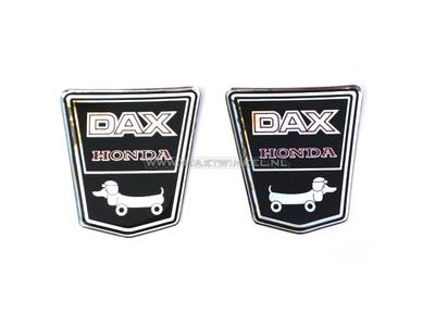 Sticker Dax embleem onder zadel, funny dog set links & rechts gel
