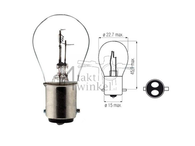 Koplamp BAX15D, duplo, 12 volt, 25-25 watt, o.a. SS50, CD50