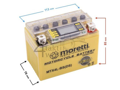 Batterie 12 volts 4 ampères gel / AGM, MTX4L-BS, avec indicateur de tension