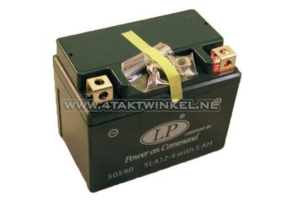 Batterie 12 volt 5 ampere Landport, SLA12-4.  tail