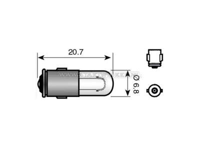 Lamp BA7s, enkel, 12 volt, 2 watt