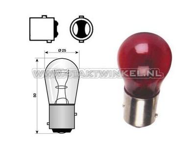 Achterlamp duplo BAY15D, 12 volt, 21-5 watt, rood