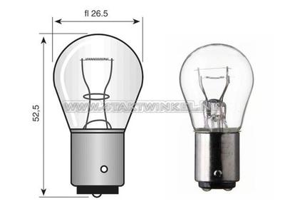 Ampoule BA15-S, simple, 12 volts, grosse ampoule 21 watts