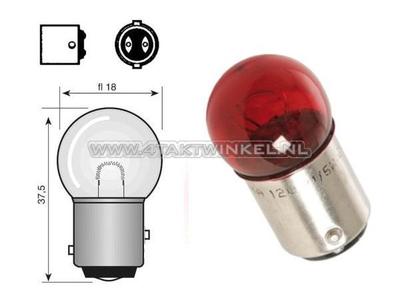 Feu arrière double BAY15D, 6 volts, 18-5 watts, petite boule, rouge
