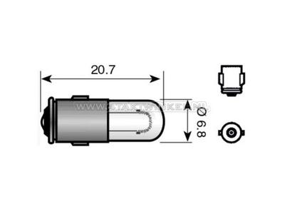 Ampoule BA7s, simple, 6 volts, 1,2 watt