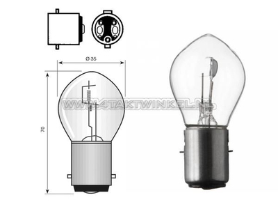 Phare BA20d, double, 6 volts, 15-15 watts, y compris Dax