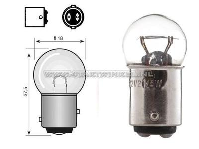Feu arrière double BAY15D, 6 volts, 18-5 watts, petite ampoule