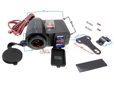 Chargeur USB avec 3 fonctions pour cyclomoteur 12 volts