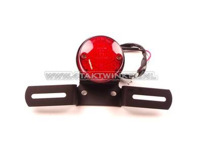Feu arrière simple rond 60mm, LED, verre rouge, E-mark