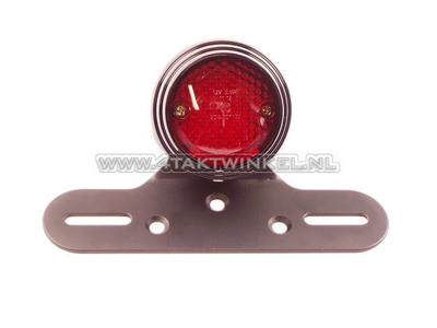 Feu arrière simple 70mm rond, LED, verre rouge, E-mark