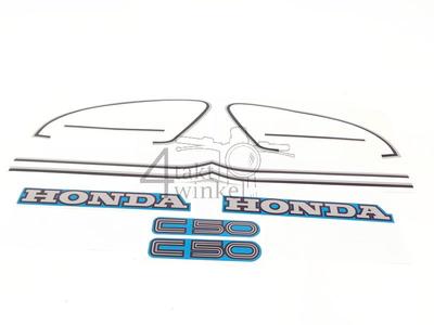 Autocollant C50c, kit, couvercle de réservoir et latéraux, bleu