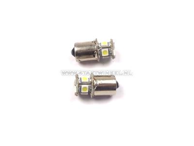 Ampoule BA15-S, simple, 12 volts, LED blanche, set de 2