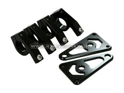 Oreille de fourche, universelles, aluminium CNC, 26 mm, noir