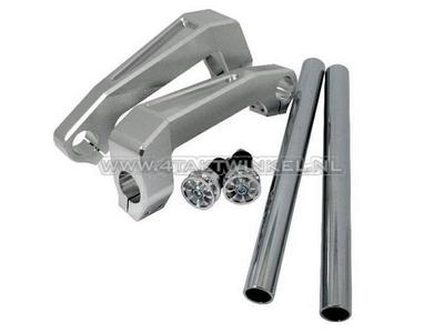 Guidon aluminium, fixation fourche, Dax, Monkey, 30mm, argent