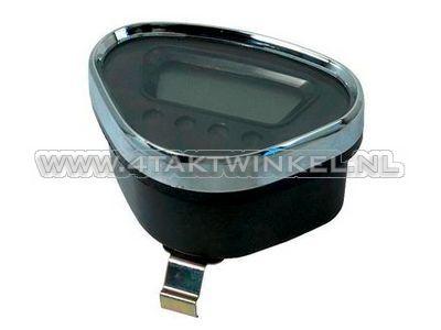 Compteur Dax digital, noir avec bord chromé
