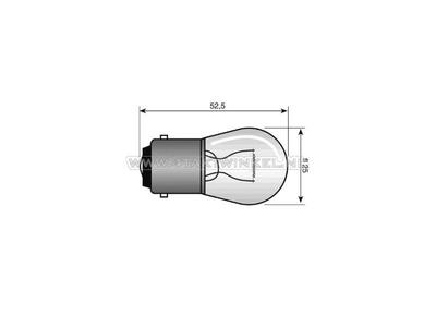 Ampoule BA15-S, simple, 12 volts, ampoule moyenne de 15 watts