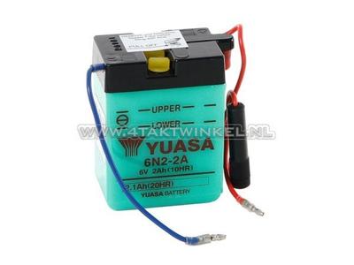 Batterie 6 volts 2 ampères, Dax, SS50, batterie acide, Yuasa