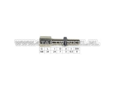 Ajusteur de câble, filetage m6 avec fente et écrou de réglage