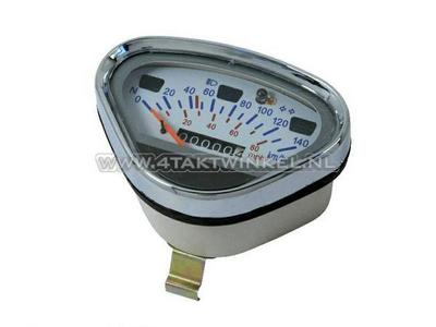 Compteur Dax jusqu'à 140 km / h imitation blanc, avec éclairage à essence