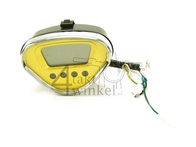 Compteur Dax digital, jaune avec bord chromé